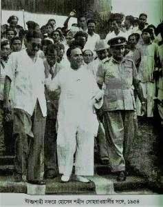 প্রধানমন্ত্রী শহীদ সোহরাওয়ার্দীর সঙ্গে  বঙ্গবন্ধু