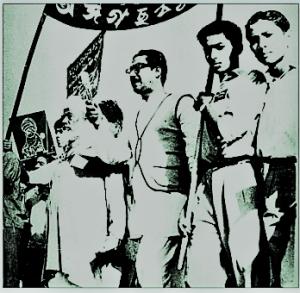 ১৯৫২ সালের ২১ ফেব্রুয়ারির রাষ্ট্রভাষা আন্দোলনে বঙ্গবন্ধু-